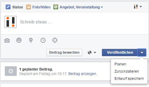Facebook Posting planen