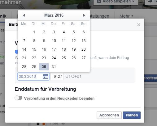 Facebookposting planen